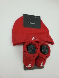 Nike Air Jordan Baby Boys Hat & Booties, 0-6 Months, Shower Gift, Red / Black