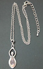 Silver Triple Goddess Pendant Necklace Pagan Wicca