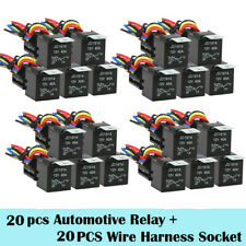 New listing 20 Sets 5-Pin Automotive Relay + 5 Wire Harness Socket Car 12V 30/40 Amp Wy