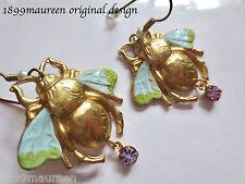 Art Nouveau Art Deco earrings large bee turquoise 1920s Edwardian vintage style