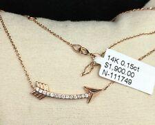 14k Solid Rose Gold Genuine 0.15CT Diamond Arrow Necklace Pendant. Retail $1900