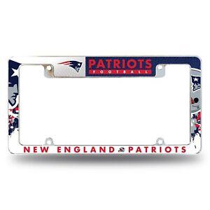 New England Patriots Chrome ALL OVER Premium License Plate Frame Cover Truck Car