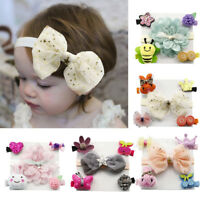 Lovely 5Pcs Kids Baby Girl Hairpin Hairband Bow Barrettes Hair Clip Headband Set