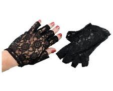 Encaje Negro Guantes sin Dedos Accesorio de Disfraz Corto Mujer Adulto