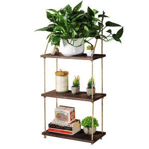 3 Tier Hanging Shelf Wall Floating Storage Shelves Plants Flower Pot Books Racks
