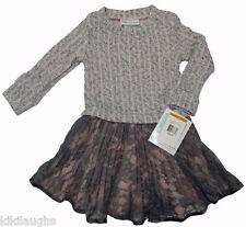 New Toddler Girls Bonnie Jean Gray Pink Cable Knit Lace Pleated Dress Size 3T