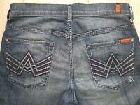 7 FOR ALL MANKIND Men's Bootcut  Denim Jeans Stretch Dark Wash Size 32 x 33
