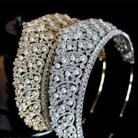 Prinzessin Braut Diadem Haarschmuck Perlen Tiara Krone Zirkonia Haarreifen Gold