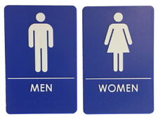 Mens And Womens Blue Restroom Signs Ada Compliant Bathroom Restaurant Made Usa