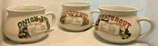 New listing Three Vintage Soup One-Handle Crock Bowl With Imprinted Recipes
