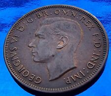 XF   1943 Australia 1/2 Penny, Half, Hints of Mint Red luster.