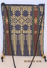 """Unusual Little Tapestry Bag W/Wooden Beads Accent  6"""" X 8"""" Tall ~14"""" Handle Drop"""