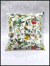 White Indian Kantha Cushion Cover Traditional Dorm Sofa Handmade Boho Pillow