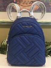 MICHAEL KORS ABBEY MEDIUM BACKPACK BAG QUILTED COBALT BLUE LEATHER SILVER $498