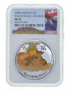 2008-P 1 Oz AUSTRALIA - SILVER YEAR OF THE MOUSE $1 Colorized - NGC MS70 *0732