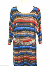 Knee Length Crew Neck Tunic Striped Dresses for Women