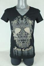 Ladies Just Cavalli Gold Skull Design Horse Motif T-shirt Top Medium Black BNWT