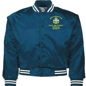 NAVAL AIR STATION GROSS ILE MICHIGAN NAVY EMBROIDERED 2-SIDED SATIN JACKET