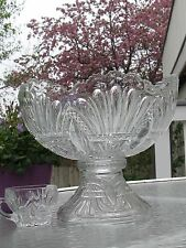Heisey PRINCE of WALES Plumes Punch Bowl +12 cups + Pedestal   RARE MAGNIFICENT