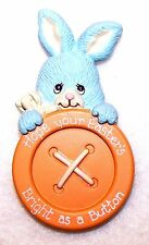 1988 Pin Morgan Enesco Easter Bunny Rabbit Peeking Over a Big Button Sooo Cute!