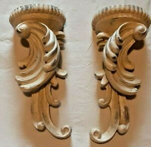 Set of 2 Wall Sconces Candle Holders White Washed Like Look Saw Tooth Hanger