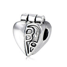 5Pcs Silver Plated Stopper Heart Beads Charms for Chain Bracelets Jewelry Making