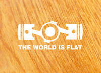 THE WORLD IS FLAT Aufkleber Sticker Boxermotor Decal Fun Auto Youngtimer Tuning