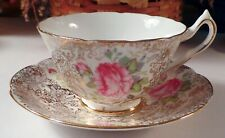 BONE CHINA CUP & SAUCER BY COLLINGWOODS PINK ROSE GOLD LACE CHINTZ