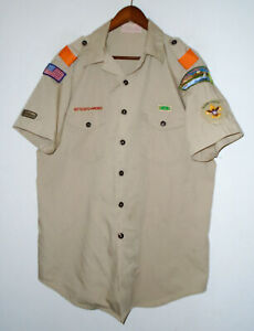 BOY SCOUTS Of America UNIFORM Shirt BSA Vtg USA Official Scout Adult Mens : LG