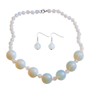 """New 8mm & (7) 20mm Opalite Gemstones Necklace & Earrings 20"""" in Gift Box #JN1127"""