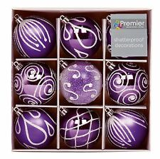 Premier Set of Nine Purple 6cm Christmas Tree Decorations Baubles Td126405pu