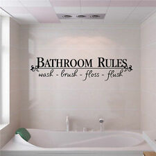 Quotes Bathroom Rule English Saying Vinyl Wall Art Decals Stickers Home Decor