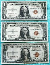 1935 3-Consecutive Hawaii One Dollar Bill Red Seal US Note Sequential Silver