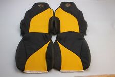Custom Made 1994-1996 C4 Corvette Sport Seat Covers Real Leather Black Yellow