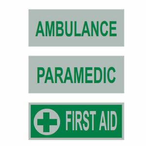 Reflective Badge Front HiVis Heat Applied Ambulance Paramedic First Aid 120X45mm