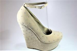 NEW WOMENS LADIES NUDE FAUX SUEDE STUDDED ANKLE STRAP WEDGE HIGH HEEL SHOES