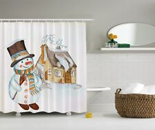 Funny Smilling Snowman Digital Print Shower Curtain Winter Snow Scene Bath Decor