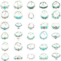 Chic Fashion Tibetan Silver Jewelry Beads Bangle Turquoise Chain Girl Bracelets