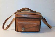 """Vintage Leather The Sportsman 502 Camera Bag Case 9""""x5""""x7.5"""" Brown Front Pocket"""