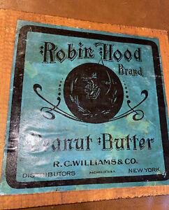 Original Vintage label Ad Robin Hood brand PEANUT BUTTER Rare Green
