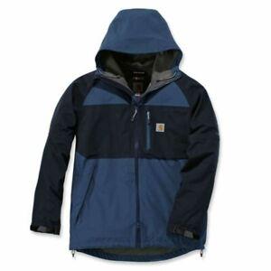 Carhartt Storm Defender Force Hooded Waterproof Rain Jacket Blue Men's Size L