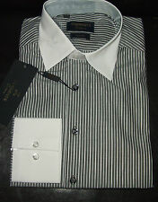 TORRENTE CHEMISE MANCHES LONGUES 37-38 GRISE RAYURES BLANCHES SLIM FIT