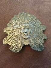 Vintage CHIEF SITTING BULL brass belt buckle SIOUX Native American Indian cowboy