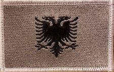 ALBANIA Flag Patch  VELCRO® brand fastener Military Gray Version White Border