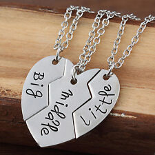 3pc Necklace Set BIG MIDDLE LITTLE Sister Sibling Best Friend Friendship Heart