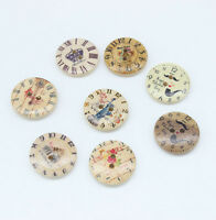 30 Mixed Clock Wooden Round Buttons 2 Holes Fit Sewing Scrapbook 20x20mm L002