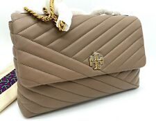 NWT $528 Tory Burch Kira Chevron Quilted Leather Shoulder CrossBody In Taupe