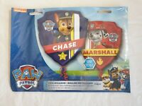 """PAW Patrol Chase Marshall 2-sided shield foil balloon 25"""" x 27"""" kids party"""