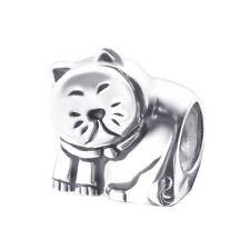 Kitty Cat Feline Shaped .925 Sterling Silver European Charm Bead