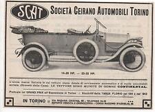 Pubblicità epoca 1913 AUTO SCAT TORINO CAR reklame old advert werbung publicitè